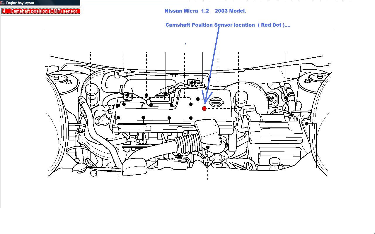 where is the camshaft sensor for a 2003 nissan micra located
